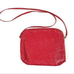 Handbags - Red chain mail metal mesh handbag - crossbody